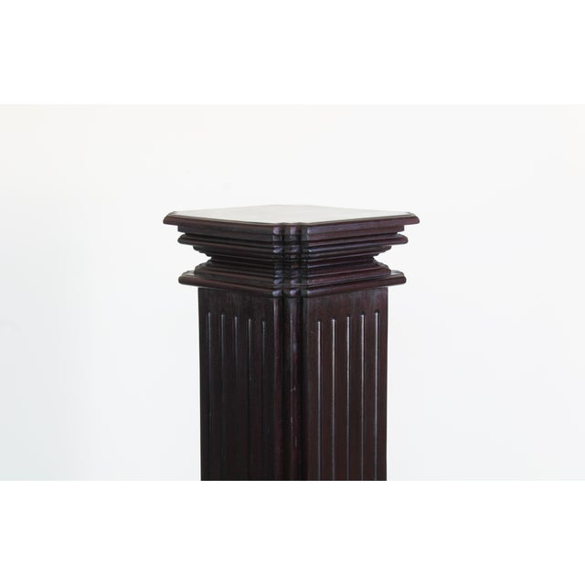 """Mid century pedestal wood base this is a wood pedestal vase, it has a dark stain finish Dimension; 14"""" Width x 14"""" Depth x..."""