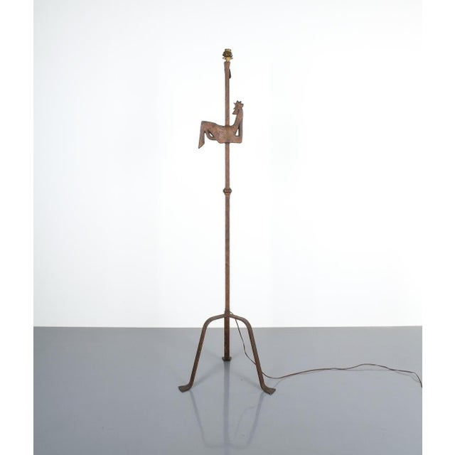 "Jean Touret for Atelier Marolles wrought iron floor lamp, France, circa 1955. Rare 56"" floor light made from wrought iron..."