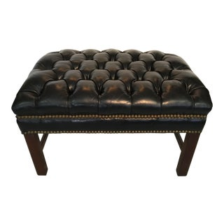 Tufted Black Leather Ottoman With Brass Studs For Sale