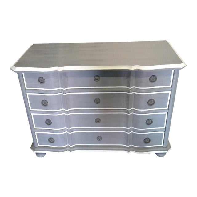 New Serena & Lily Antique Gray Dresser With Serpentine Front For Sale