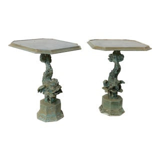 Pair of Carved Italian Dolphin Side Tables