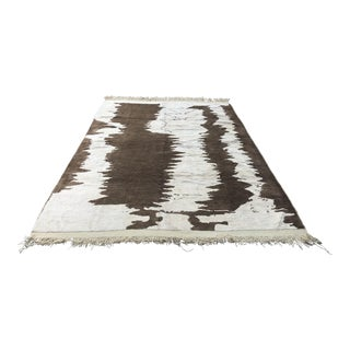 Turkish Floor Oversize Handwoven Brown and White Hemp Rug For Sale