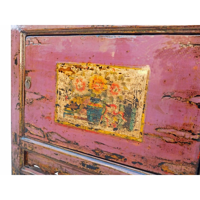 Chinese Floral Cabinet in Rustic Purple - Image 4 of 6