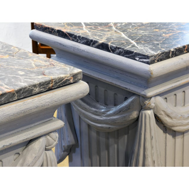 Gray Pair of Neoclassical Carved Gray Painted Gustavian Style Marble Top Pedestals For Sale - Image 8 of 13