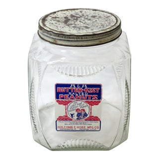 Vintage Country Store Glass Peanut Jar For Sale