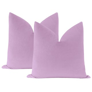 "22"" Lavender Velvet Pillows - a Pair For Sale"
