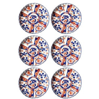 Chinese Imari Porcelain Kangxi Plates Blue and Orange Signed - Set of 6 For Sale