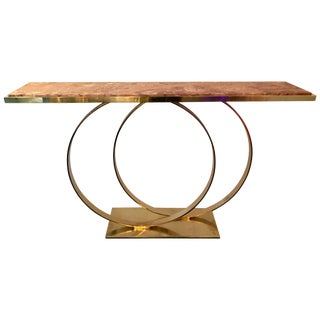 Contemporary Brass Console Two Circle, Italy For Sale