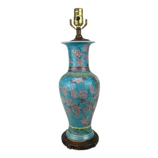 Chinese Cherry Blossom Blue Vase Lamp For Sale