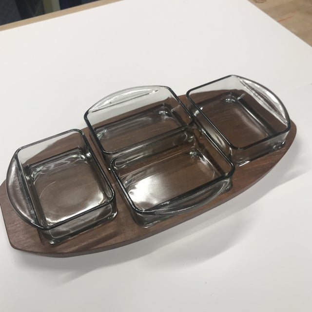 1970s Danish Brostrom Design Teak Serving Tray With Glass Inserts - 5 Pieces For Sale In Boston - Image 6 of 6