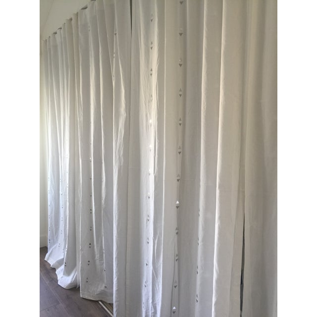 Embroidered Jewelry White Curtains - Set of 4 - Image 4 of 5