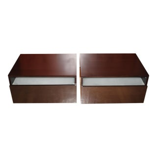 Design Within Reach Leggero Italian Mocha Bedside Night Tables - a Pair
