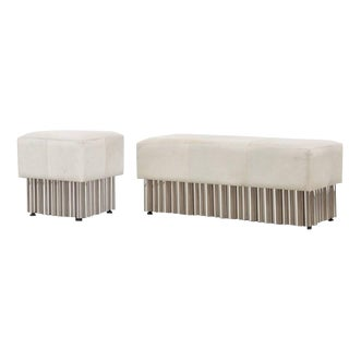 Leather Ottoman & Bench Set For Sale