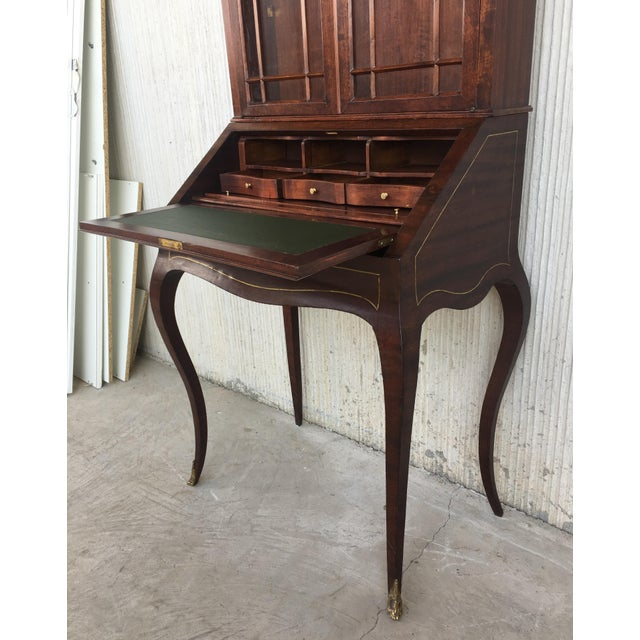 Green 18th Century Louis XVI Style French Inlaid Secretary Desk For Sale - Image 8 of 13