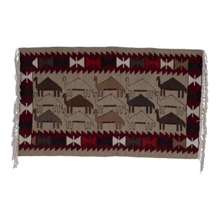 Vintage Camel Motifs Turkish Kilim Rug 33'' X 72'' For Sale