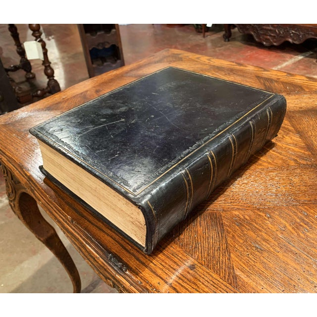 """Black 19th Century English """"Life of Christ"""" Black Leather Bound Book With Gilt Dated 1857 For Sale - Image 8 of 9"""