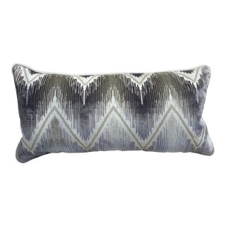 Scalamandre Silk Velvet Embroidered Lumbar Pillow For Sale