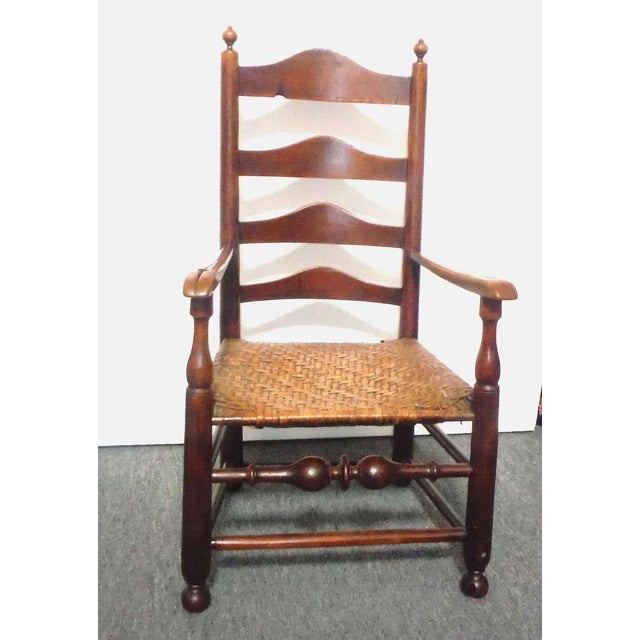 Rare 18th c. Delaware River Valley Ladder Back Side Chair - Image 3 of 8