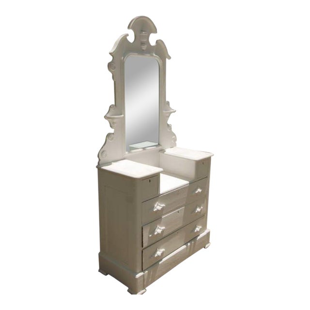 1870's Cottage Chest of Drawers With Mirror For Sale