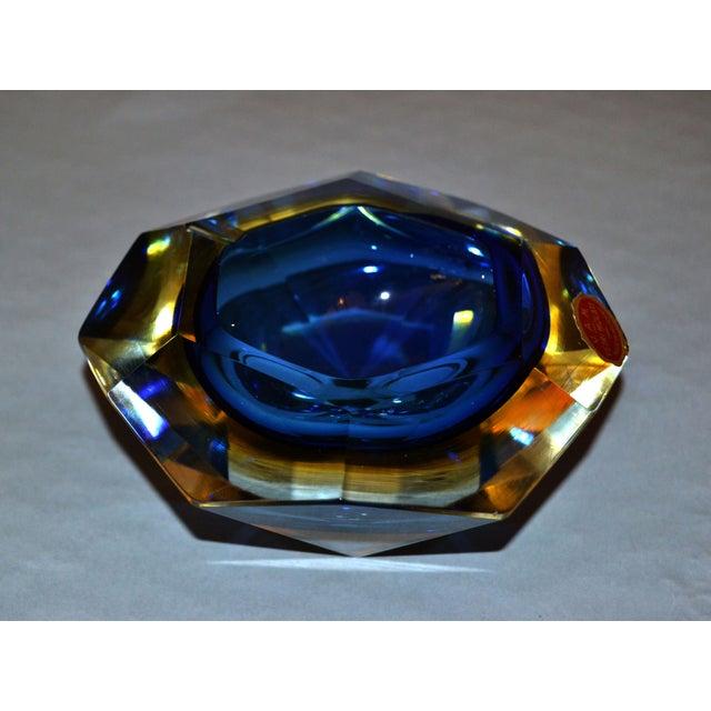 Multi Faceted Murano Glass Ashtray Attributed to F. Poli by Vetri Molati Murano For Sale - Image 12 of 12