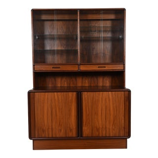 Danish Rosewood 2-Piece Storage / Display Cabinet with Light For Sale