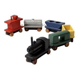 Vintage Wooden Toy Train For Sale