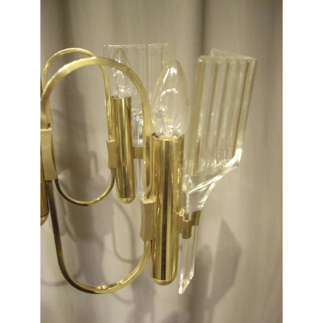 1960s 1960s Vintage Six-Light Glass and Brass Chandelier US Wired For Sale - Image 5 of 8