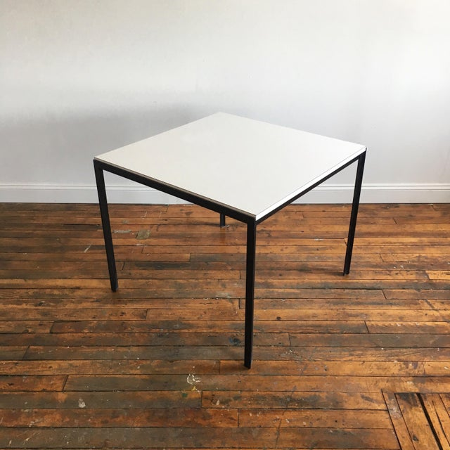 Vintage Florence Knoll T-Angle steel frame and laminate top dining table. Early 1960's bowtie label is fully intact.