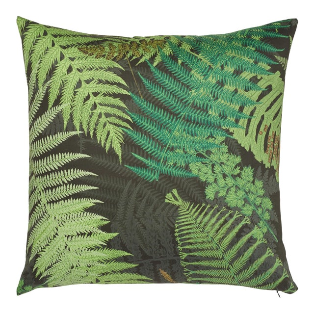 Contemporary Schumacher X Clements Ribeiro Fernarium Pillow in Green & Black - 20ʺw × 20ʺh For Sale