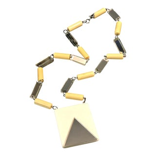 Vintage Mirror Celluloid Modernist MCM Space Age Statement Necklace Large Long Pendant 1960s For Sale