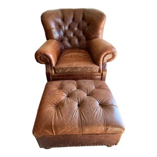 Restoration Hardware Classic Leather Club Chair and Ottoman - a Pair For Sale