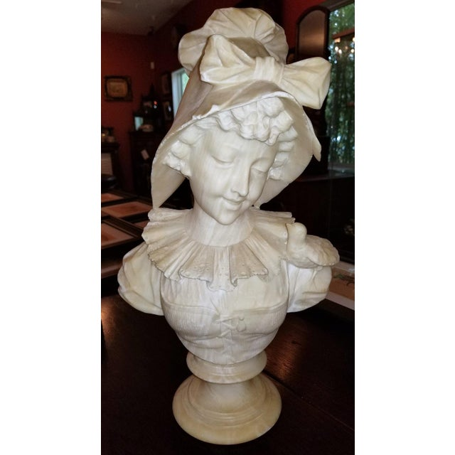19th Century French White Alabaster Bust of Lady in Bonnet For Sale - Image 13 of 13