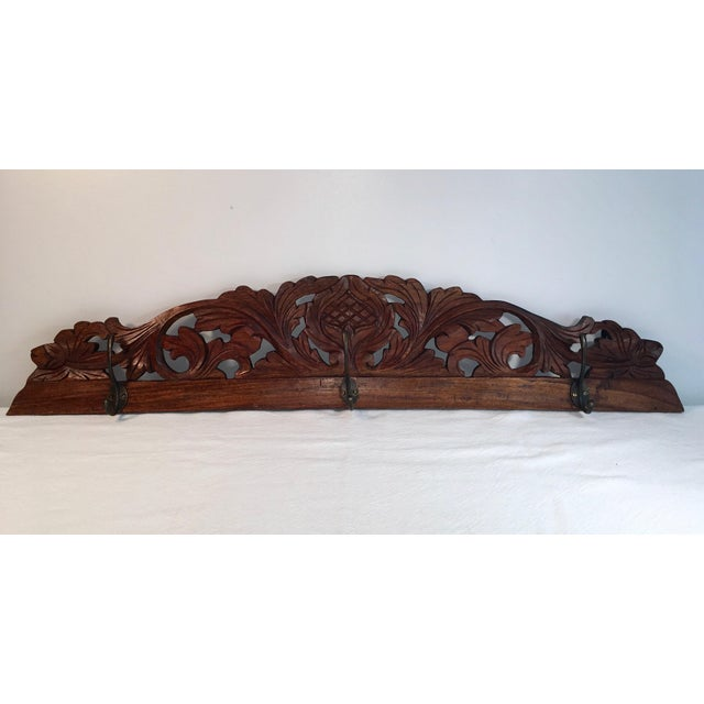 Antique Hand Carved Wall Coat Rack - Image 8 of 8