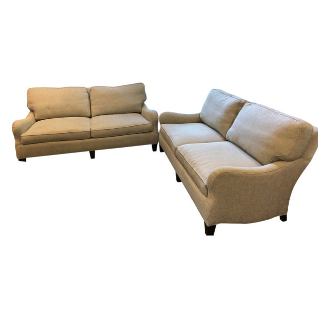 Custom Lee Industries Sofas in Amalfi Stone Fabric - a Pair For Sale