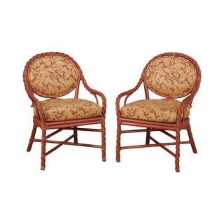 McGuire of San Francisco Pair Painted Twisted Rattan Armchairs (B) For Sale