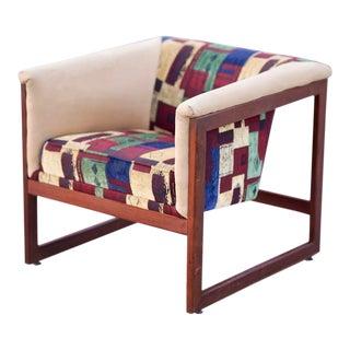 Milo Baughman Thayer Coggin Walnut Cube Floating Lounge Chair For Sale