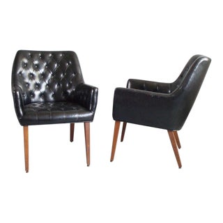 Button Tufted Black Leather Occasional Chairs - a Pair For Sale