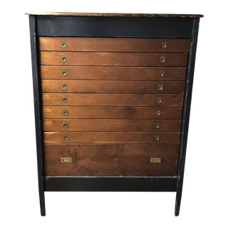 Vintage Architect's Highboy Chest