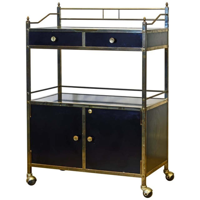 Midcentury Two-Tier Brass and Black Laminate Bar Cart by Maxwell Phillips, Ny For Sale - Image 13 of 13