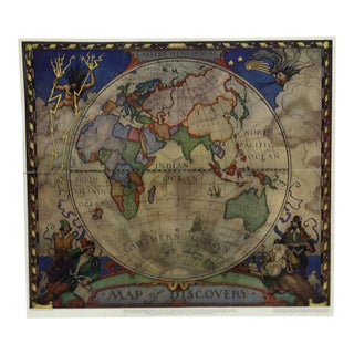"1928 Vintage ""Eastern Hemisphere - Map of Discovery"" National Geographic Society Color Map Print For Sale"