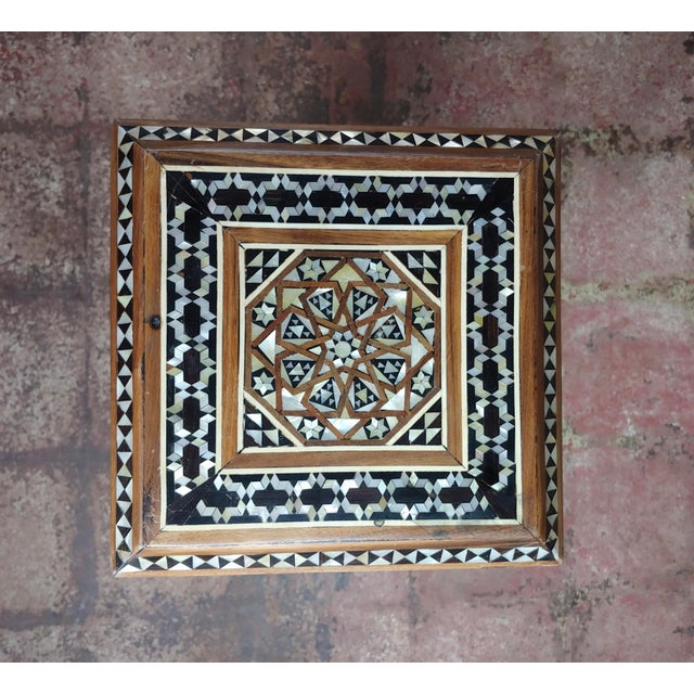 """Black Syrian Pair of Vintage """"Tower Shaped"""" Petite Inlaid Stands For Sale - Image 8 of 10"""