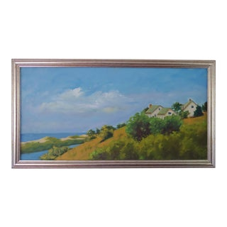 Original Hillside Cottages by the Sea Painting For Sale