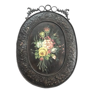 Vintage Oval Tole Floral Wall Hung Plaque For Sale