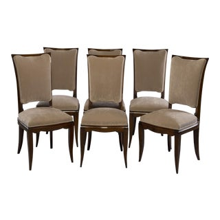 Midcentury Italian Polished Walnut Dining Chairs- Set of 6 For Sale