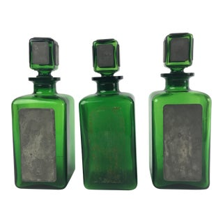French Green Glass & Pewter Alcohol Decanters - Set of 3 For Sale