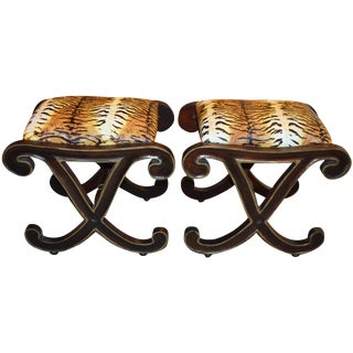 Animal Print X-Benches - a Pair For Sale