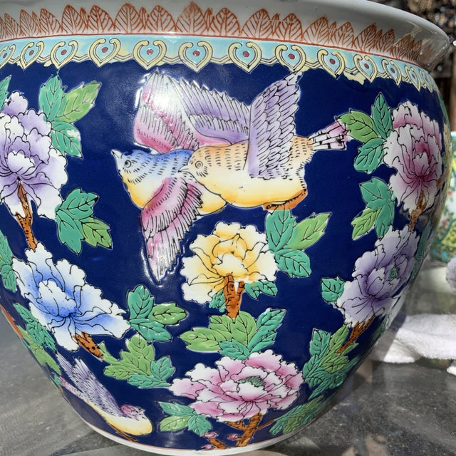 1950s Chinoiserie Blue Porcelain Planter Pot With Koi Fish Interior Motif For Sale - Image 5 of 12