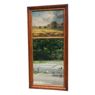 Late 20th Century Pine Trumeau Mirror Signed Oil Painting For Sale