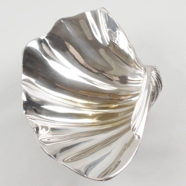 Italian Mid-Century Modern Silver Plate Clam Shell Catchall Bowl For Sale In Atlanta - Image 6 of 9