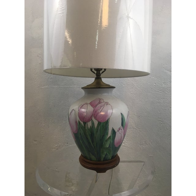 Vintage Tulip Lamp With New Shade For Sale In Charleston - Image 6 of 8